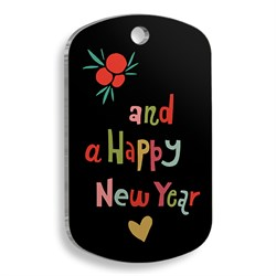 Pet Tag Art - Christmas Serisi Happy New Year Asker Kedi ve Köpek Künyesi